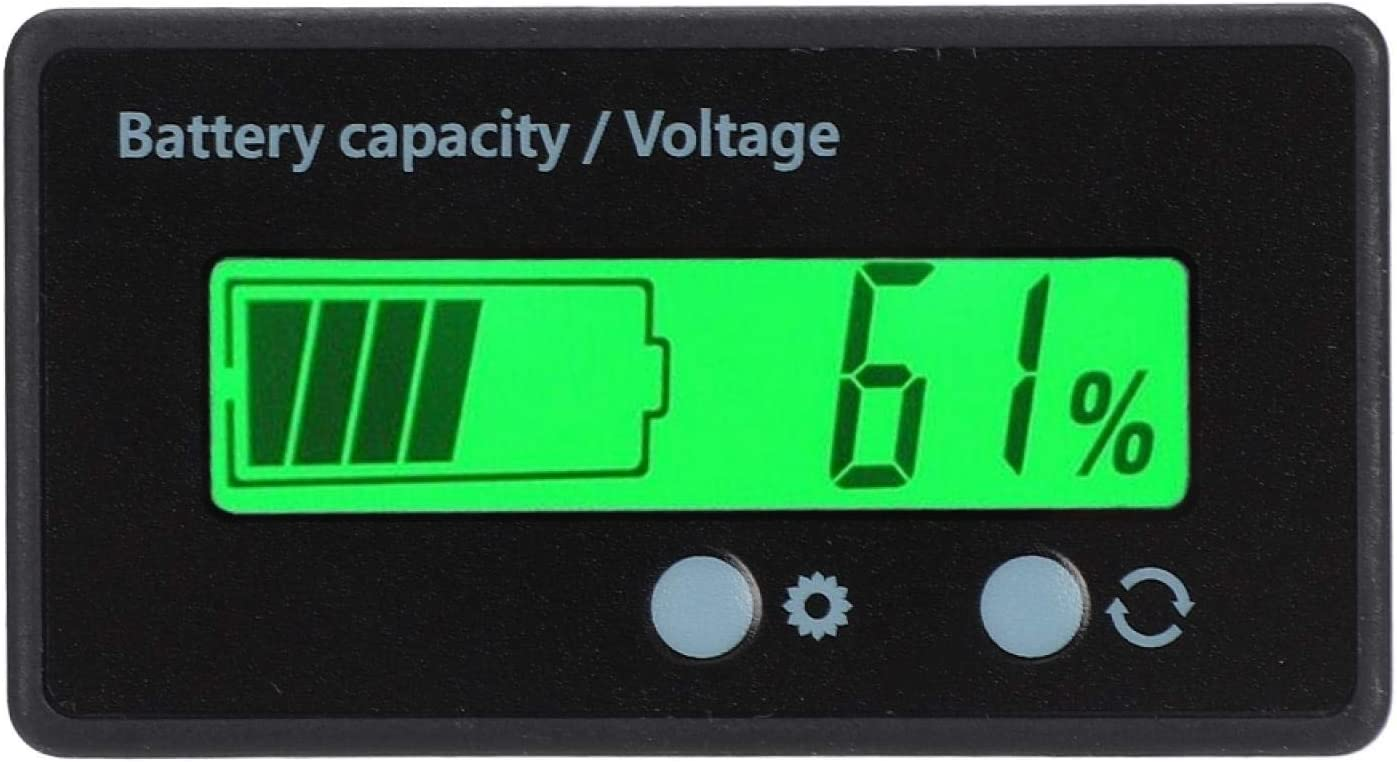 QIRG Battery Capacity Indicator, LCD Display Easy to Set Up Battery Digital Display Voltmeter Voltage Meter with Light Alarm Function for Lithium Battery(Green Light, Pisa Leaning Tower Type)
