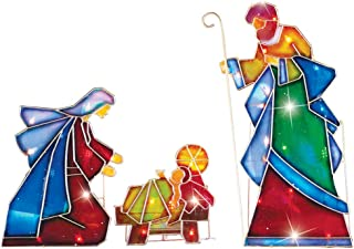 Collections Etc Lighted Outdoor Mosaic Nativity Christmas Scene - 3pc