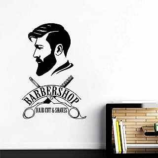 Melissalove Barbershop Logo Wall Decal Mural Barber Shop Sign Sticker Window Decor Decals Barber's Logo Murals Hair Salon Wallpapers LC477 (Black)