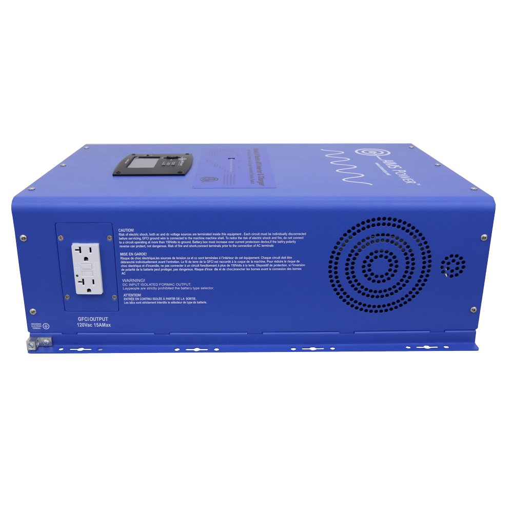 AIMS Power 8000 Watt Pure Sine Inverter Charger 48Vdc & 240Vac Input to 120 and 240Vac Split Phase Output 24kw Surge 50 or 60Hz Listed to UL & CSA