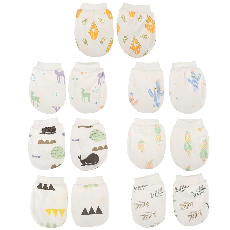 EXCEART 7 Pairs Newborn Baby Cotton Gloves No Scratch Mittens Newborn Baby Mitts Unisex Cotton Infant Gloves