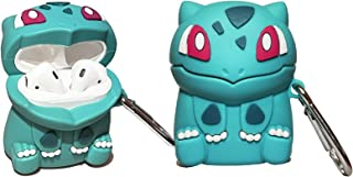 Bulbasaur Airpods 1&2 Case, Fashion Cute Food Design Silicone Airpods Case, Funny Cool Cover Accessories with Keychain for...