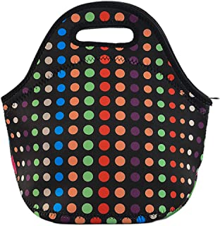 Poromoro Insulated Neoprene Lightweight Lunch Tote Lunch Bag Lunch Box for Kids Teens Women Men (Micro Dots)