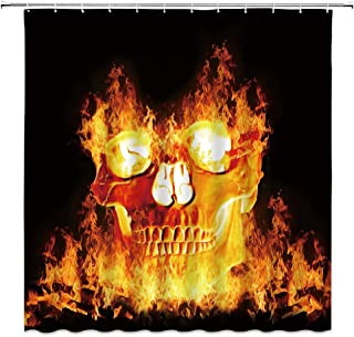 jingjiji Flame Skull Shower Curtain Magic Night Halloween Terror Abstract Grim Reaper Bathroom Decoration Curtains Polyester Fabric Waterproof with Hook 70 X 70 Inch Red Black