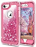 JAKPAK iPhone 6 Case, iPhone 6S Case Shockproof Glitter Flowing Liquid Bling Sparkle Cover for Girl Woman Heavy Duty Full Body Protective Shell for iPhone 6S iPhone 6 4.7 inches Pink