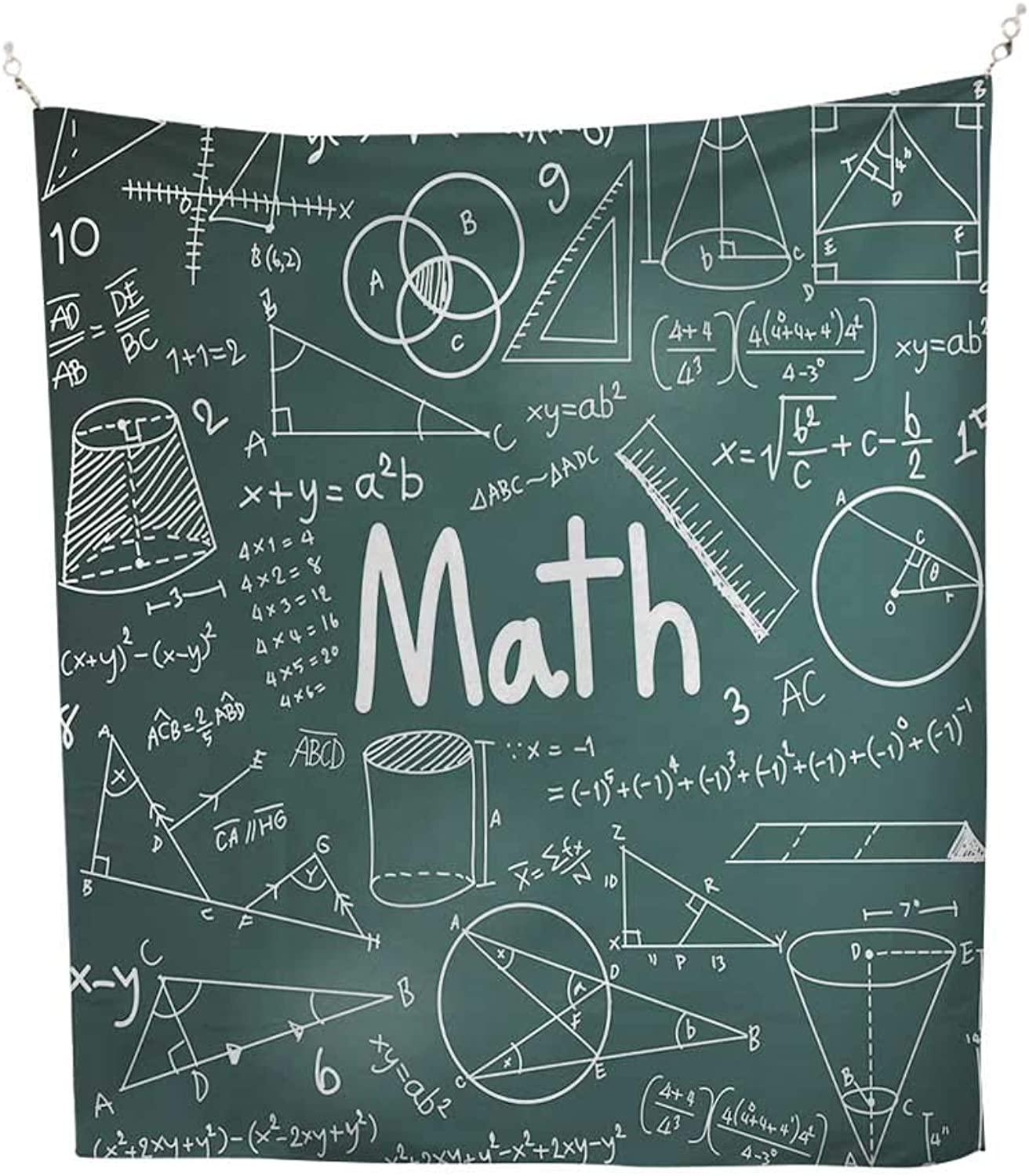 Mathematics Classroom Decorcool tapestrySchool Board Full of Drawings Formulas Shapes Theory Math Word 57W x 74L inch Tapestry for wallTeal White