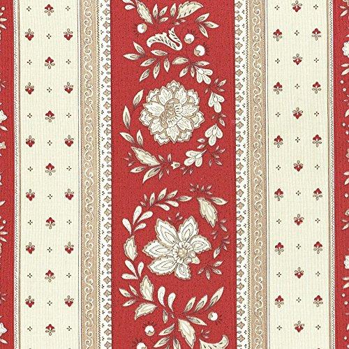 Stoff Meterware Baumwolle - Provençal Streifen Blumenstoff (Renaissance Rot & Karamellcreme)   100% Baumwolle Stoff   Stoffbreite: 160 cm (pro Laufmeter)*