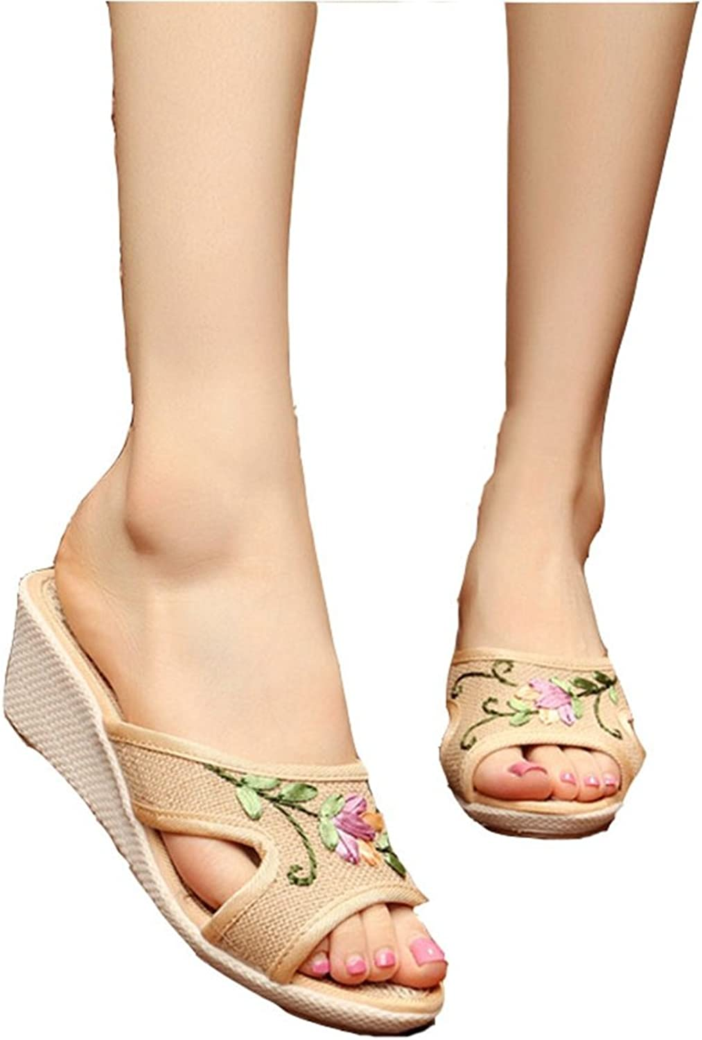 T-JULY Womens Ladies Wedge High Heel Sandals Embroidered Floral Slip On Slippers Linen Canvas shoes