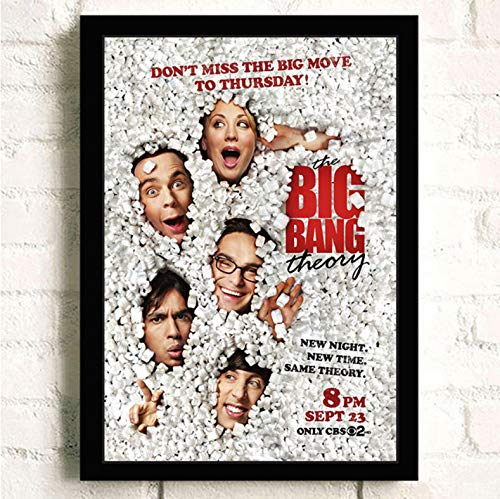 PCCASEWIND Frameless Painting 50X70Cm, The Big Bang Theory Movie Wall Artist Home Decoration Canvas Painting Nordic Hotel Bar Cafe Living Room Poster,Pc-1202