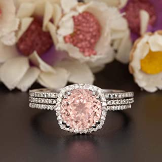 2 Carat Round Cut Morganite and Diamond Halo Trio Wedding Ring Set On White Gold with Engagement Ring and Two Wedding Bands