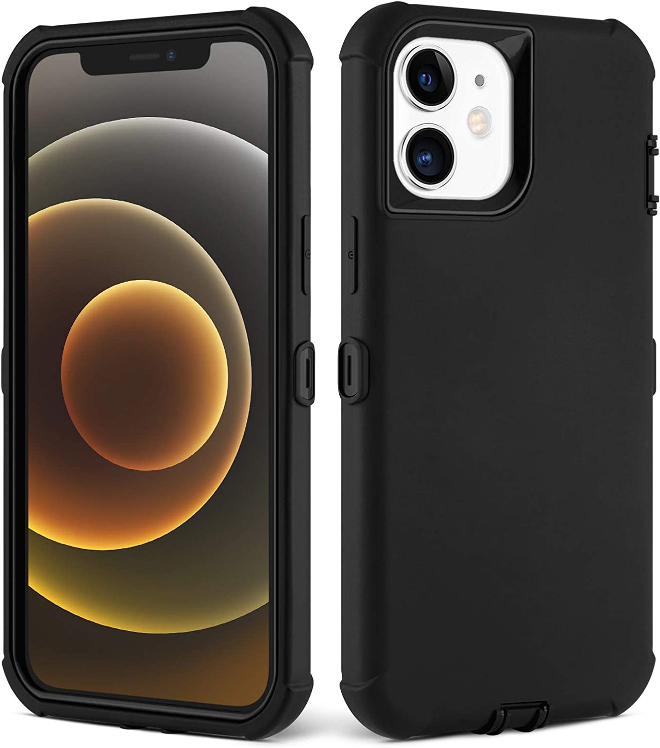 KABIBIN Compatible with iPhone 12 Mini 5.4 inch 5g 2020 Case Shockproof Heavy Duty Rubber Bumper Silicone Cover Scratch Protective Full Body Protection 3 Layer Durable Hard PC TPE Shell (Black)