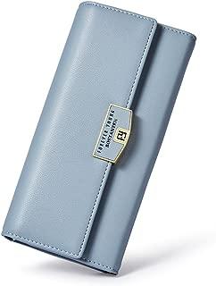 BOSTANTEN Womens Rfid Blocking Wallets Leather Wristlet Long Clutch Cash Card Holder Wallet Purple