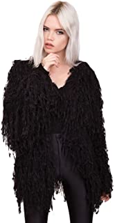 Pretty Attitude Women's Fab Fringe Shaggy Open Jacket Clothing (Black)