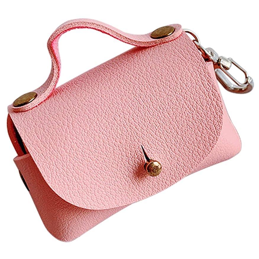 座標言うまでもなくブルゴーニュairpods対応 収納バッグ かわいいハンドバッグデザイン カラビナ付き ユニークなデザイン レザー風 ポータブル 小物収納 (ピンク)