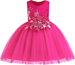 Girls Sleeveless Wedding Party 3D Embroidered Flower Pageant Dresses