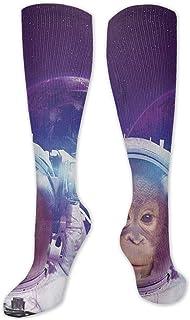 Jessicaie Shop, Mono astronauta en el espacio exterior Calcetines de compresión tanto para hombres como para mujeres Medias de enfermera atléticas corriendo