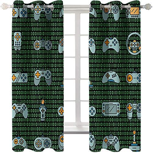 3D-tryckta mörkläggningsgardiner – spelkod, andningsbar isoleringsdesign distinkta öljettgardiner, för vardagsrum sovrum 220 x 215 cm