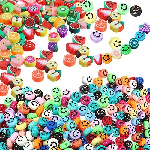200 Abalorios para Hacer Pulseras, 100 cuentas de arcilla polimérica Frutas Cuentas Coloridas, 100 Cuentas de sonrisa caritas sonrientes Cuentas de Bricolaje para Pulseras, Niños, DIY Manualidades