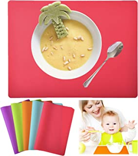 Kindga Placemats for Kids, Silicone Placemat Set for Dining Kitchen Table, Flexible Dining Mat for Kids Baby Toddler, Waterproof Non Slip Washable Reusable Easy to Clean (5 Pack)
