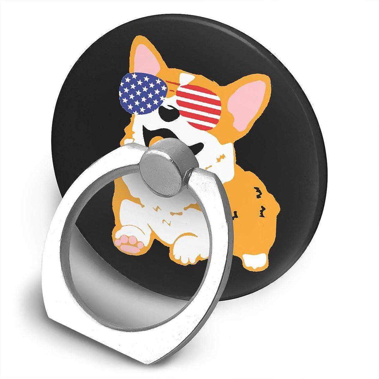 ラウンジ制限忘れられないアメリカ国旗メガネ犬 360度回転 携帯リング スタンド スマホスタンド ホルダー 薄型 指輪 リング 携帯アクセサリースタンド機能 落下防止
