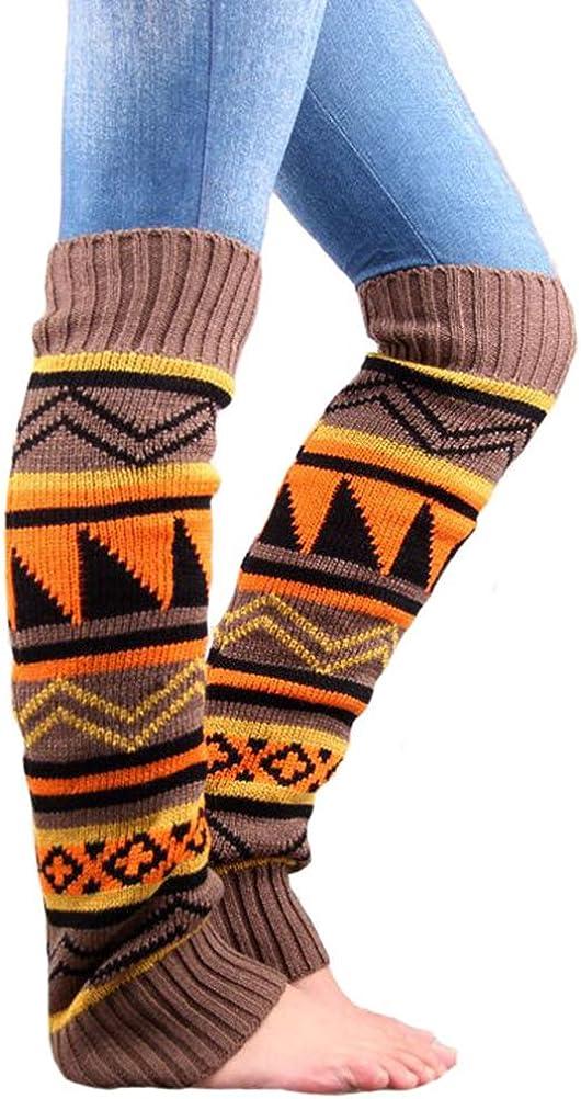 UEETEK Women Leg Warmers Boho Knit Crochet Long Boot Socks Leg Warmers Khaki