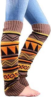 UEETEK, UEETEK Mujeres pata punto Boho Crochet largo arranque calcetines calentadores color caqui