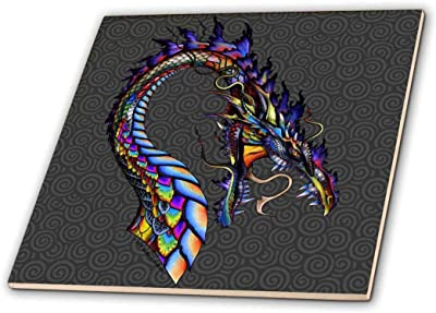 3dRose ct/_164162/_1 Colorful W Abstract by Angelandspot-Ceramic Tile 4-Inch