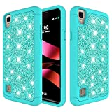 ZASE Design Case for LG Tribute HD, LG X Style (Sprint Boost Virgin Simple Mobile) Shock Absorption Impact Resistant Dual Layer Defender Protective Hard Shell Slim Case (Glitter Teal Mint)