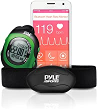 Bluetooth Fitness Heart Rate Monitor - Smart Digital Sports Wrist Watch Activity HR Tracker w/Chest Strap, Timer, Alarm, Sync, Used in Exercise or Running, for Men and Women - Pyle PSBTHR70GN (Green)
