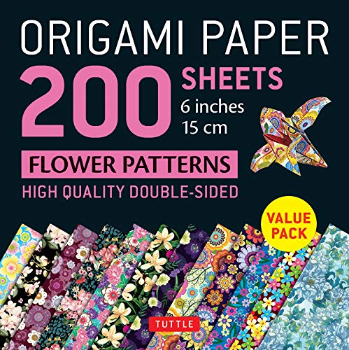 """Origami Paper 200 sheets Flower Patterns 6"""" (15 cm): High-Quality Double Sided Origami Sheets Printed with 12 Different Designs (Instructions for 6 Projects Included)"""