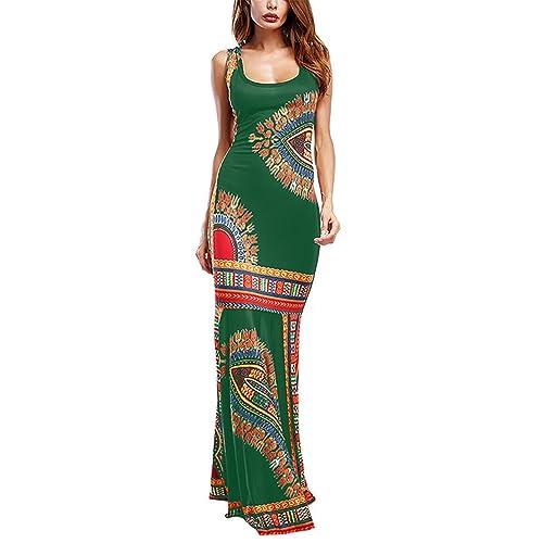43ebdb8d890 Amoretu Women Boho Floral Sleeveless Dashiki Maxi Long African Evening  Cocktail Dress