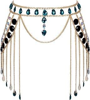 PETMHS Women Crystal Harness Bra Body Chain Acrylic Jewelry Bikini Shoulder Necklace Tassel Crossover Belly Retro Nightclu...