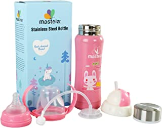 HONEY BOO Baby 3 in 1 Multi Functional Baby Steel Feeding Bottle for Hot and Cold Milk (240 Ml, Colour May Vary)