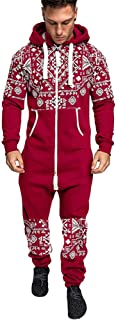 🍒 Spring Color 🍒 Christmas Rompers Mens Long Sleeve Xmas Snowflake Print Hoodie Zipper Overall Jumpsuit with Pockets