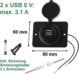 edi tronic Dual USB Aufbaubuchse 3.1 A 5V 2 x USB Buchse Doppel 12 24 V Ladegerät Wasserdicht Handy Smartphone Laden Anschluss