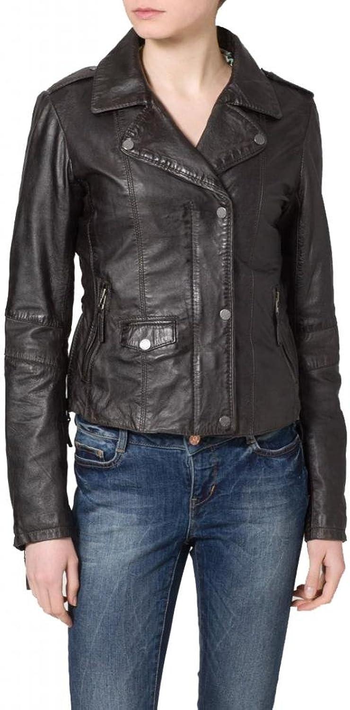 Leather Women's Lambskin Leather Bomber Biker Jacket W053