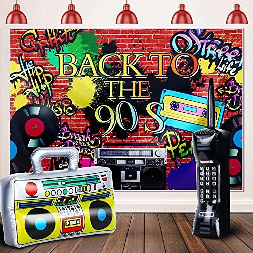 Set de Fiesta de 80 90 Incluye Caja de Auge de Radio Inflable 16,5 x 10,6 Pulgadas Telón de Fondo de Graffiti Aireado 5 x 3 Ft Teléfono Móvil Inflable 26 x 6 Pulgadas (Estilo Elegante)