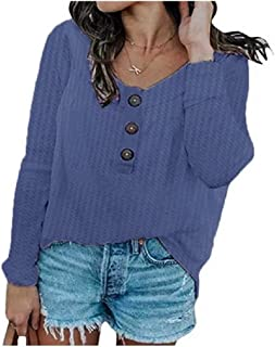 Howely Womens Waffle Button-Down Round Neck Long Sleeve T Shirts Blouse Tops