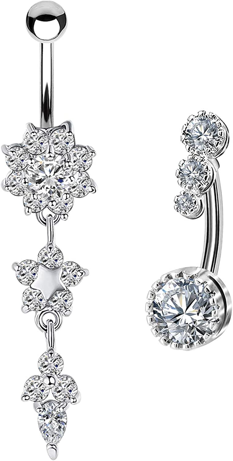 CHARM ONLINE 14G Cubic Zirconia Surgical Steel Navel Belly Button Ring for Women Piercings Jewelry