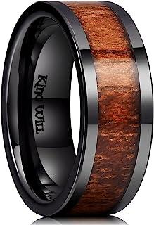 King Will Nature 8mm Black Koa Wood Ceramic Ring Wedding Band Polished Finish Comfort Fit Flat Style/Beveled Edge