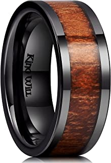 Nature 7mm 8mm Wood Ceramic Ring Wedding Band Polished Finish Comfort Fit