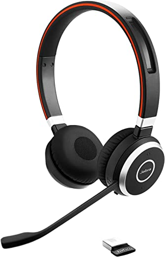 Jabra Evolve 65 Stereo Casque supra-auriculaire sans fil - Casque certifié Microsoft avec batterie longue durée - Adaptateur Bluetooth USB - Noir