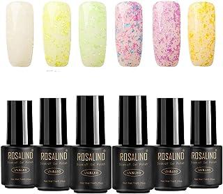 ROSALIND brillo Copo de nieve gel de uñas esmalte Soak Off UV LED barniz Manicura pedicura salon 5 botellas 7 ml