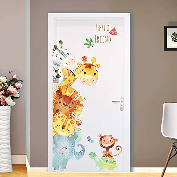 Cartoon Animals Wall Stickers Mural Decals For Kids Room Nursery Bedroom Wardrobe Door Wall Decoration Removable Art Decal Animal