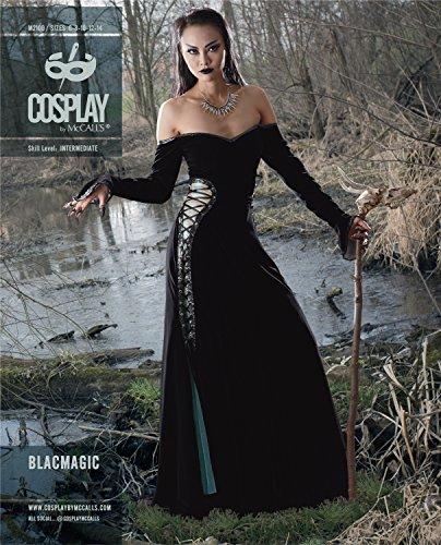Cosplay By McCall's Cosplay M2100 A5, Blacmagic Off-the-schouder jurk met veters, maten 6-14, klok, multikleur, 20 x 0,5 x 25 cm