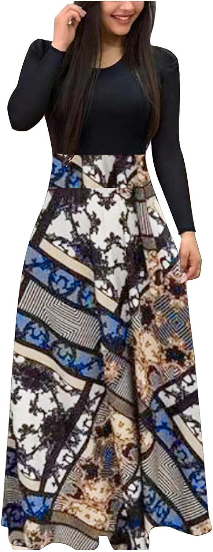 Kinple Women's Bodycon Long Sleeve Maxi Dress, Womans Striped Patchwork Body Con Long Dress, Ladies Crew Neck Slim Dresses