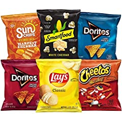 Ships in Amazon Certified Frustration-Free Packaging 35 single serve favorites - Smart food White Cheddar Popcorn, Cheetos Crunchy, Sun chips Harvest Cheddar, Lay's Classic Potato Chips, Doritos Nacho Cheese, and Doritos Cool Ranch With six different...