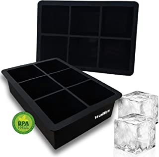 Silicone Ice Cube Tray, Walfos 2 Pack Large Ice Cube Molds, Flexible and Easy Release, BPA Free and Dishwasher Safe, Perfe...