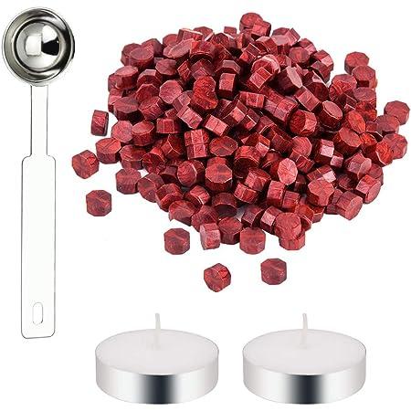 DECARETA 200 Pièces Cire d'Étanchéité Octogonale Bâtons de Perles avec 2 Pièces Bougies de Thé et 1 Pièce Cuillère de Fusion de Cire pour Cachet de Cire (Vin Rouge)