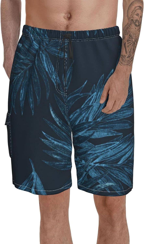 Btrada Long Swim Trunks for Men Printed Beach Short Watercolor Green Branches Swimwear Mid Length